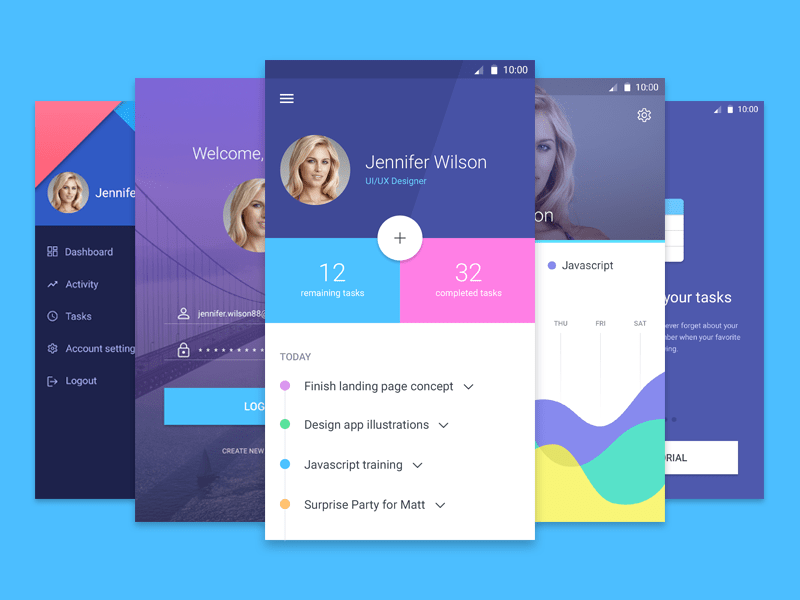 Android Material Design App Screens
