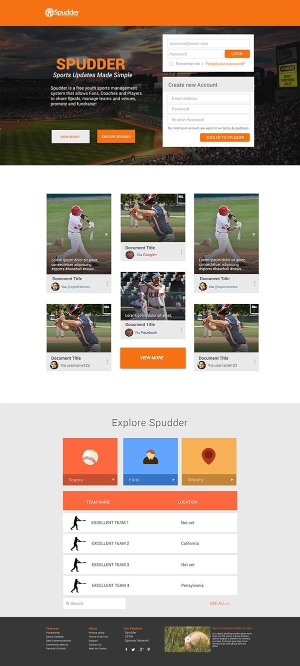 Sports News Website Material Design