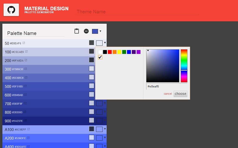 top material design color palettes for web and graphic
