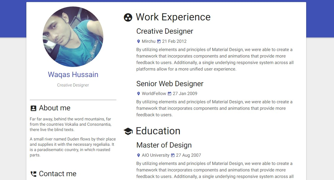 materialize responsive resume