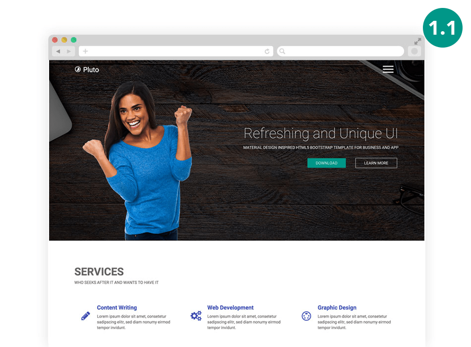 pluto-template Material Design Free Bootstrap Template