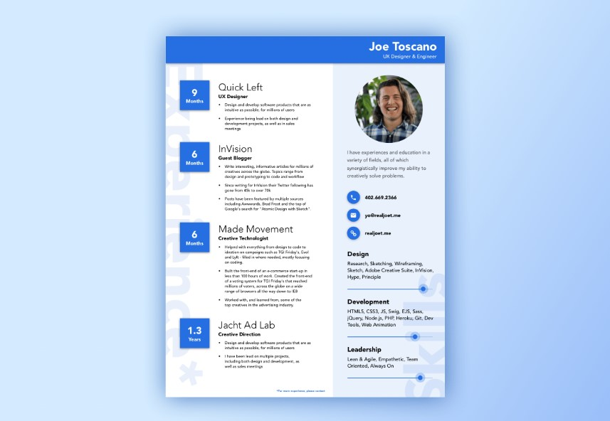 Best Free Material Design Resume And CV Templates UIdeck - Google design templates