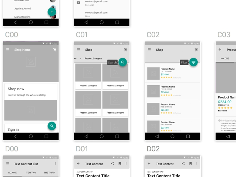 wireframe_kit_material design