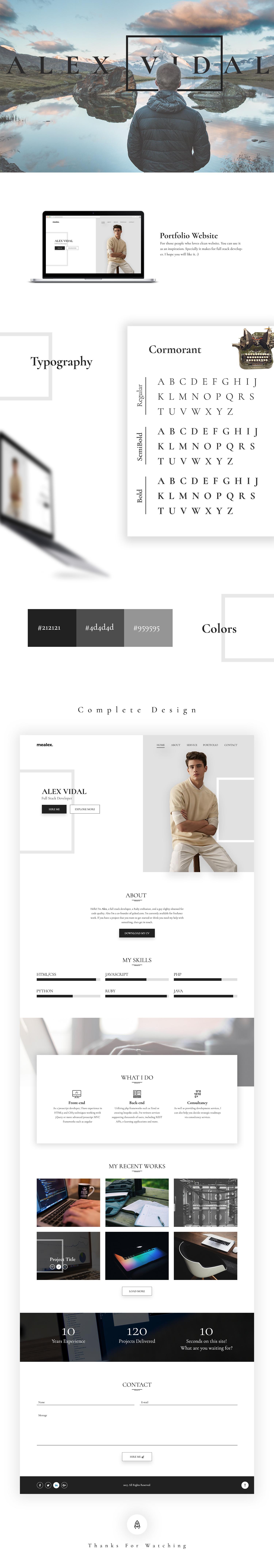 alex free personal portfolio and resume psd template uideck. Black Bedroom Furniture Sets. Home Design Ideas