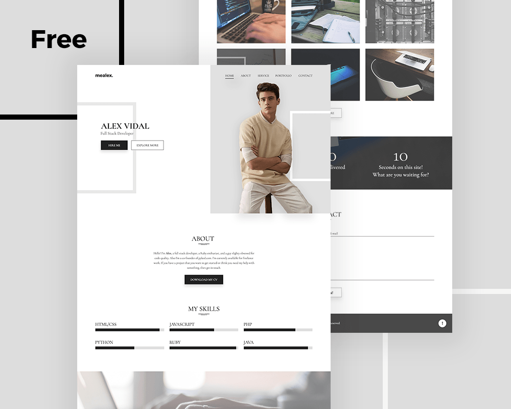 Alex free personal portfolio and resume psd template uideck alex is simple and clean portfolio template designed for personal resume and portfolio template its is completely free psd template so you can download pronofoot35fo Choice Image