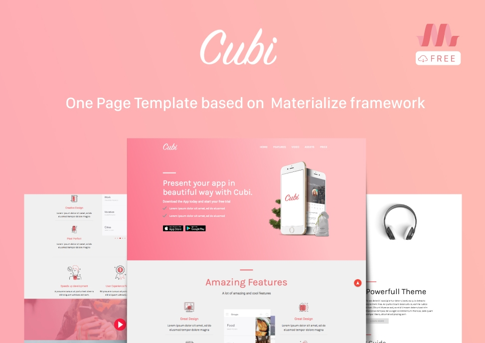 Cubi a free template based on materialize uideck for How to materialize