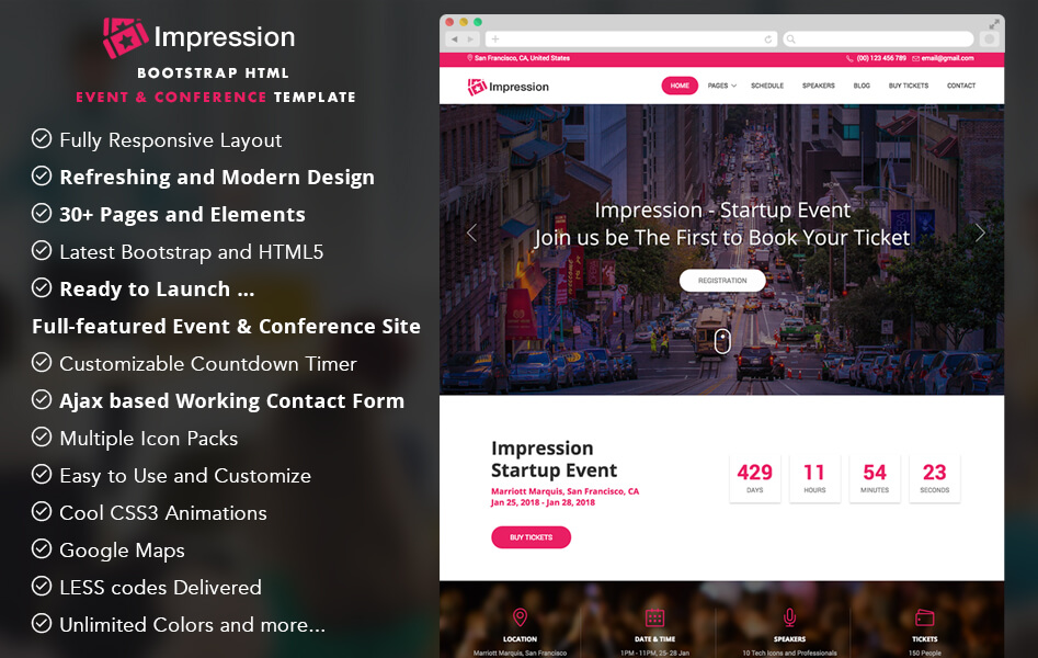 impression event and conference website template