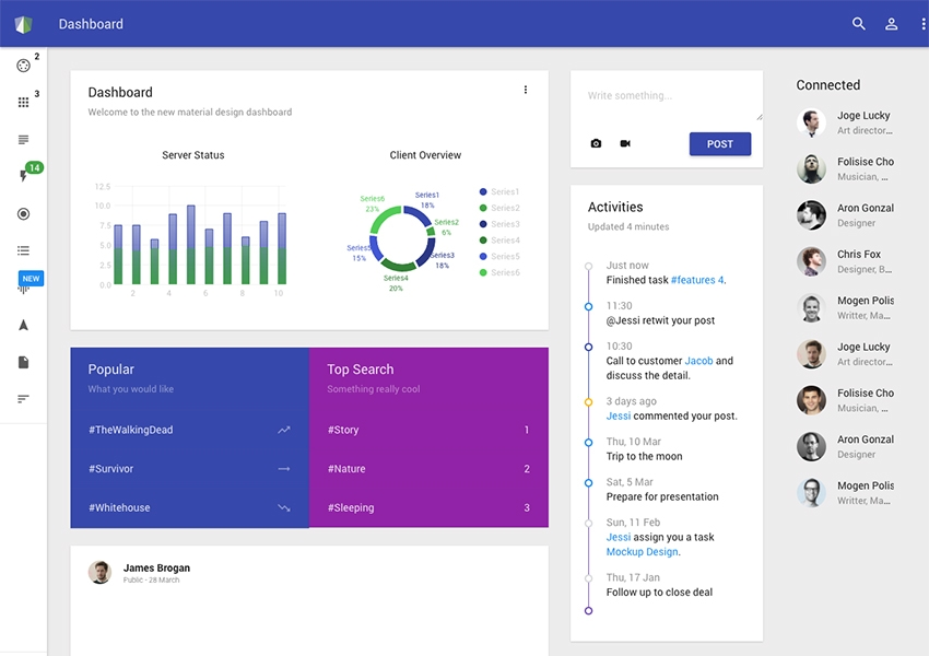 25 best free and premium angularjs dashboard templates 2018 materil is an outstanding and beautifully designed angularjs dashboard admin template this is highly responsive and customized template and comes with the maxwellsz