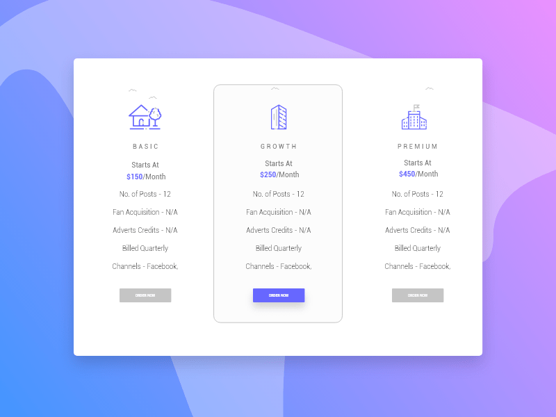 Free Pricing Table Design