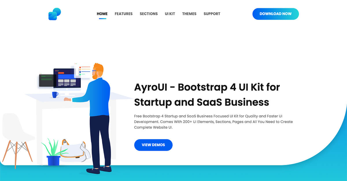 Helium UI Kit - Free Bootstrap 4 UI Kit | UIdeck