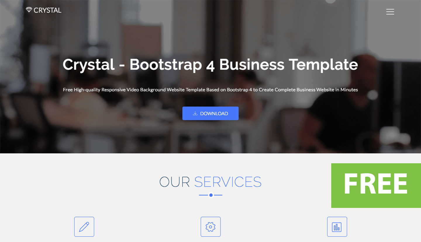 Crystal free bootstrap video background website template wajeb Gallery