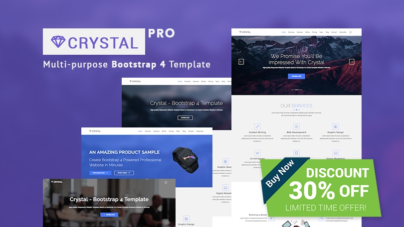 Crystal - Free Bootstrap Video Background Website Template