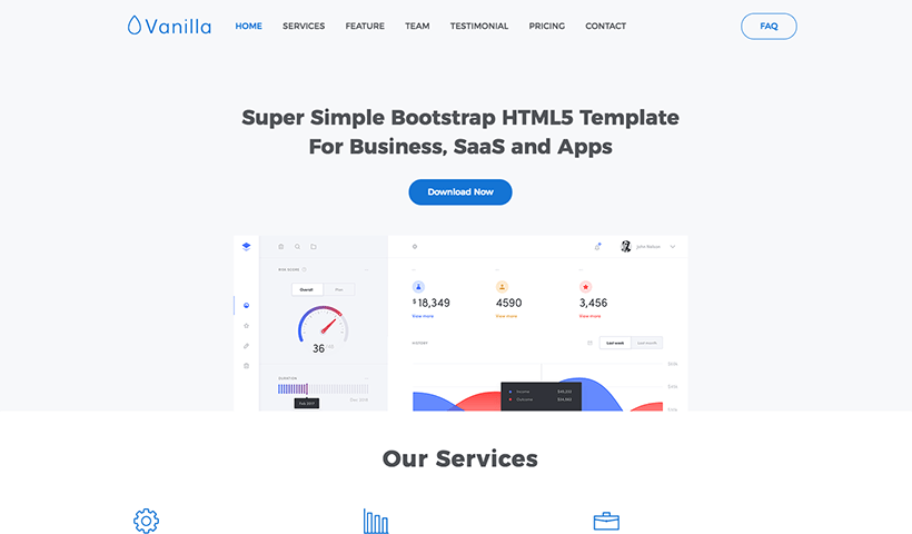 Vanilla - Free Bootstrap 4 Template for SaaS, Business and Apps