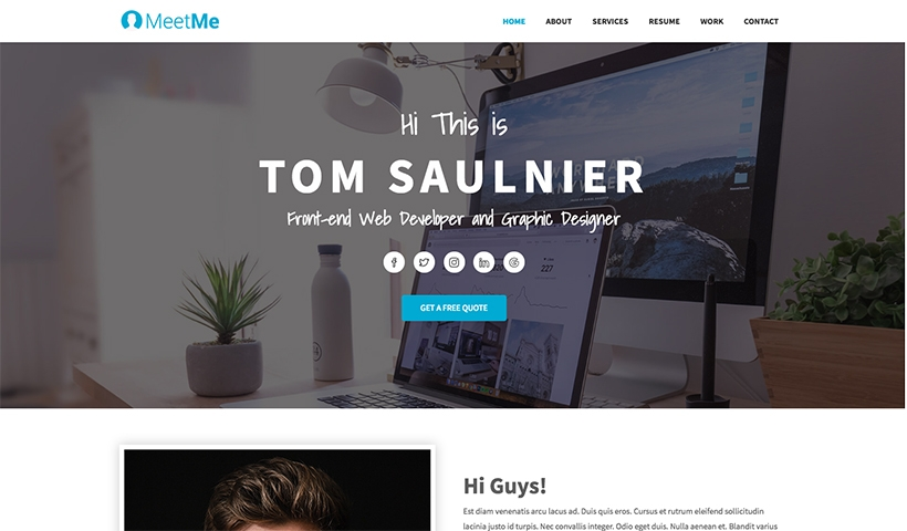 MeetMe Free Resume And CV Bootstrap Template