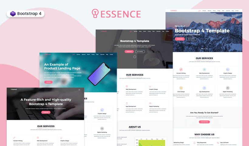 Essence Free Bootstrap 4 One Page Template
