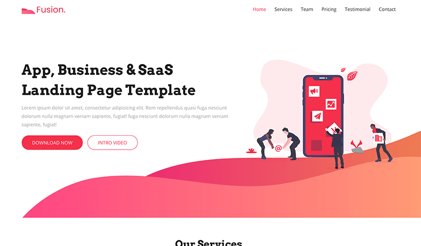 Fusion – App, Business, SaaS & Product Landing Page