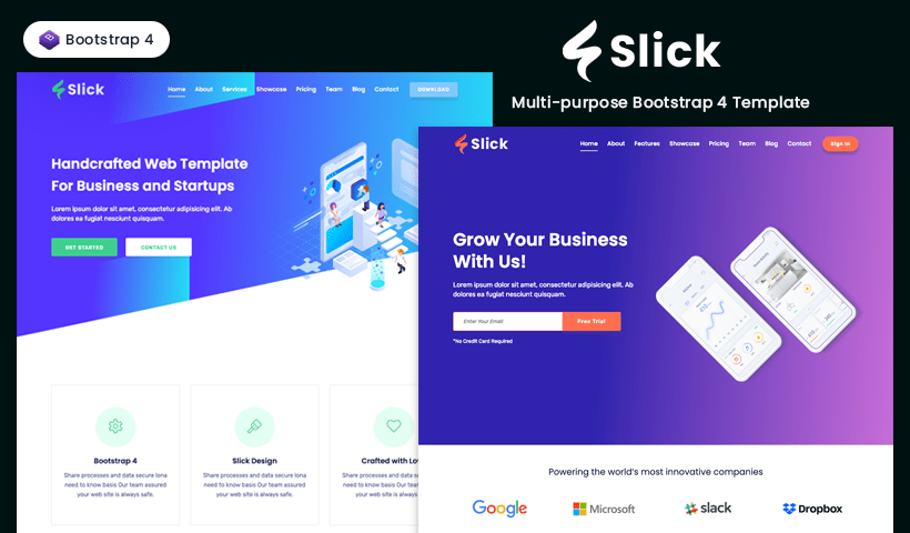 Slick - Free Multipurpose Bootstrap 4 Template | UIdeck