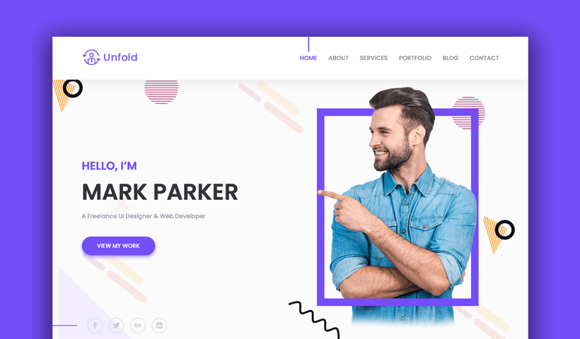 Unfold Free Personal Portfolio And Profile Template Uideck