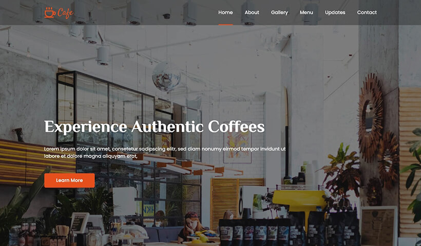 Cafe –  Coffee Shop and Bakery Website Template