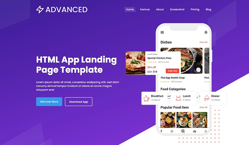 Advanced – Bootstrap Creative App Landing Page