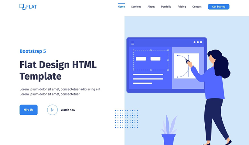 Flat – Flat Design HTML Website Template