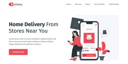 Delivery – Food Delivery App Landing Page Template