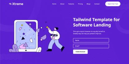 Xtreme – Tailwind CSS Software Landing Page Template